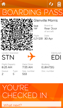 EJ 220x375 EasyJet extends its mobile check in and boarding pass trial to 38 European airports