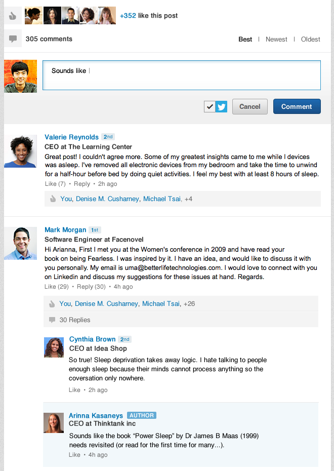 Influencer Comments Sreenshot LinkedIn now lets users comment, like and mention other people at the bottom of Influencer posts