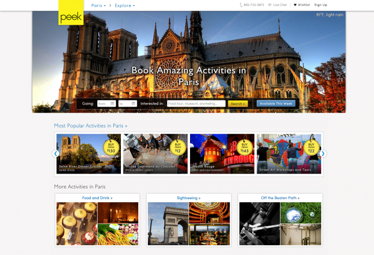 Paris Region Page 730x498 Travel activity marketplace Peek expands out of the US with the addition of London and Paris
