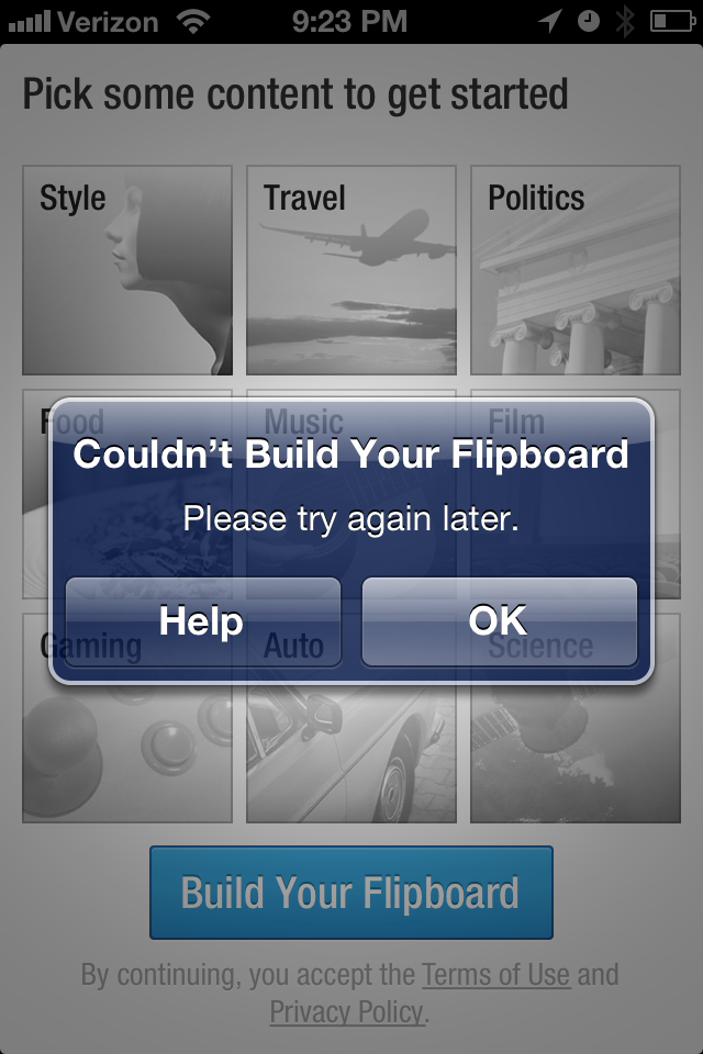 Photo Jul 04 9 23 25 PM Flipboard suffers second outage in two days following Google Readers closure (Update: Now fine)