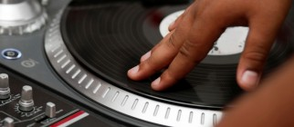 Hip-hop DJ scratching the record