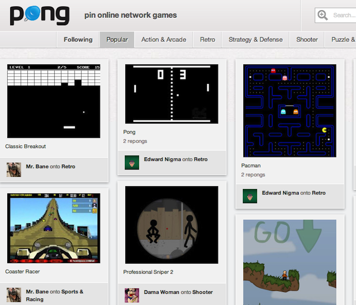 Robin Wauters Pong Pin Online Network Games Take a break from work: Pong.com emerges as a Pinterest for flash games