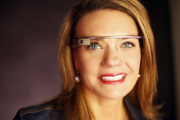 Sarah Hill wearing Google Glass