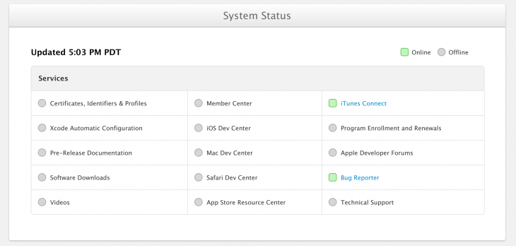 apple systemstatus 730x348 Apple launches Developer Center system status page as it begins slowly restoring service