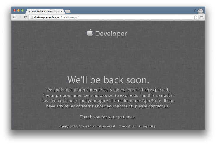 appledevcenterdown 730x491 Apples Dev Center has been down for over 24 hours, keeping developers from downloading SDKs and iOS 7 beta [Update]