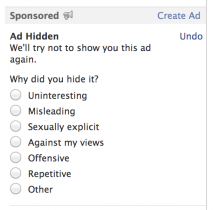 facebook ads 220x210 Facebook to improve News Feed personalization by letting users explain why they hide posts
