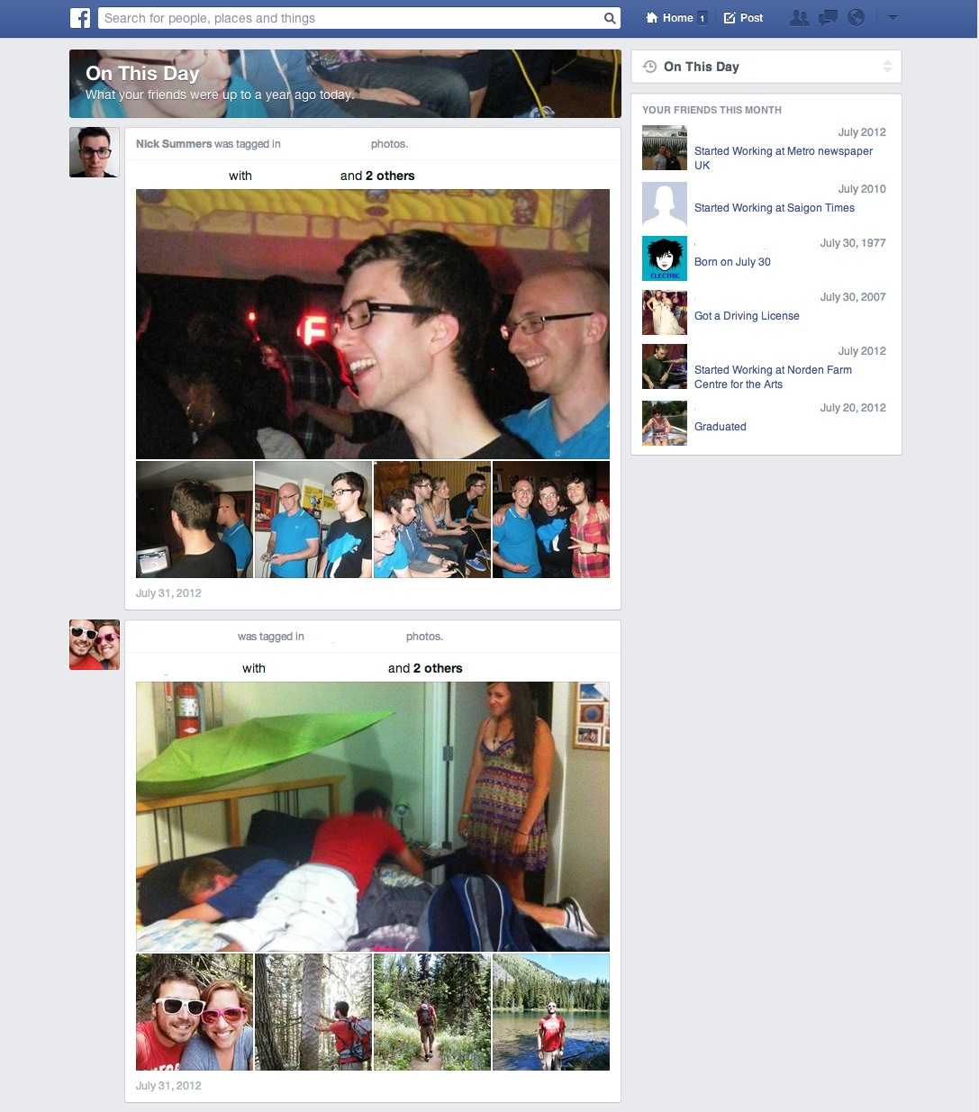 fb11 Facebook testing On This Day tab in the News Feed to help users take a trip down memory lane