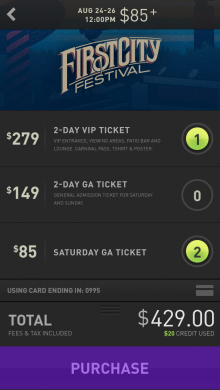 image 2 220x390 WillCalls last minute ticket buying app goes in venue, letting you tip bands and buy merchandize