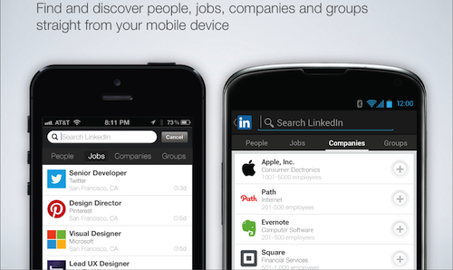 mobile search phones LinkedIn for Android and iOS moves beyond people, now lets you search for jobs, companies, and groups too