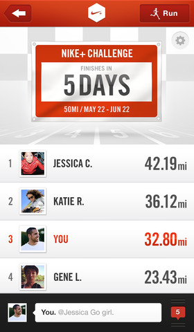 nikeplus challenge Nike+ Running iPhone app gets new challenge feature to let you race friends for medals