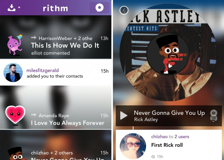 rithm 730x521 Rithm for iOS calls itself Snapchat for music, and it might make song messaging a hit