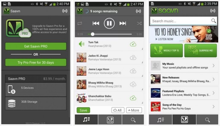 saavn pro android 730x419 India focused music streaming site Saavn launches its premium Pro service on Android