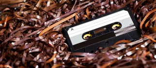 Blank Recordable Audio Cassette on Magnetic Tape - Selective Focus