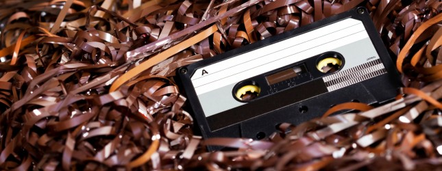 Blank Recordable Audio Cassette on Magnetic Tape – Selective Focus