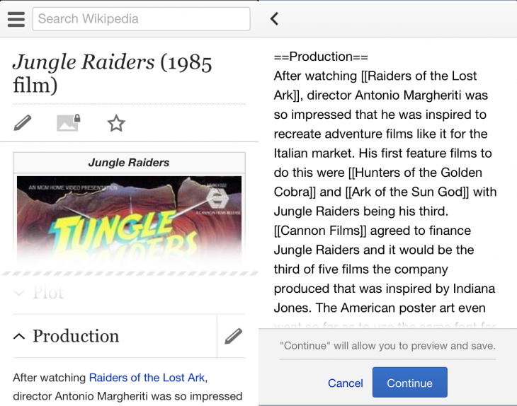 wikipedia mobile editing 730x574 You can now edit Wikipedia on the go, as Wikimedia turns on mobile editing