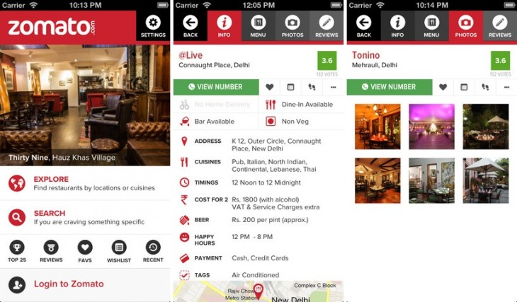 zomato ios 730x427 Restaurant guide Zomato introduces social features and goes live in 5 new cities worldwide