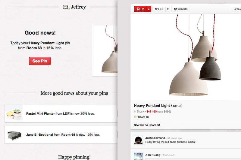 2013080104 Pinterest now sends you an email notification whenever one of your pins drops in price