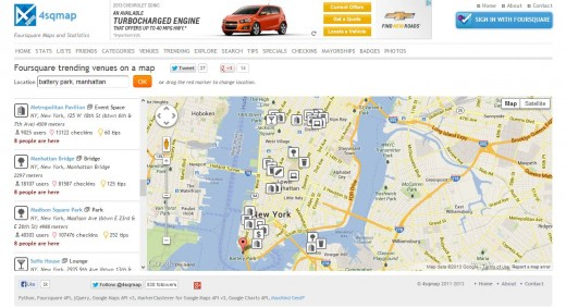 4sqmap 520x283 20 apps and resources that do cool things with your social data