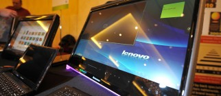 A Lenovo computer is display during a pr