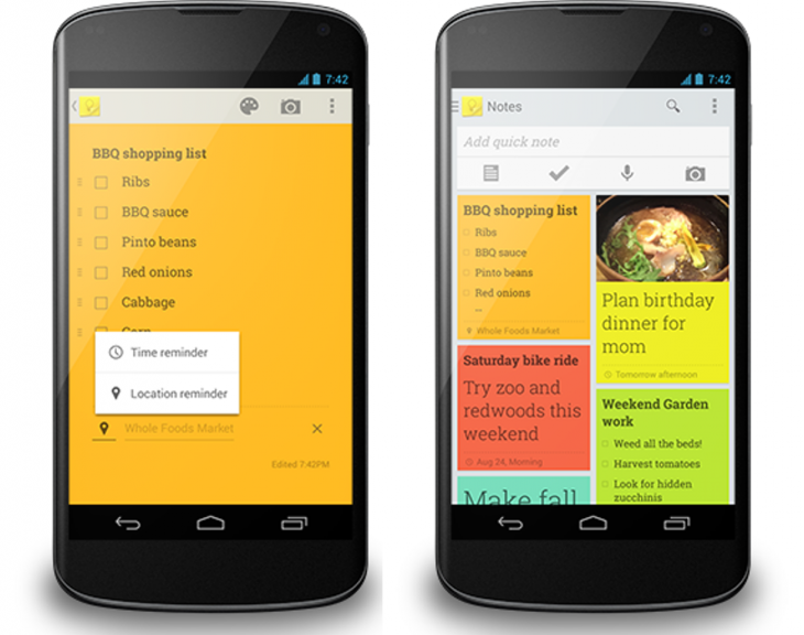 Picture 1 730x576 Google Keep gets time and location reminders, revamped navigation drawer, and new options to add photos to notes