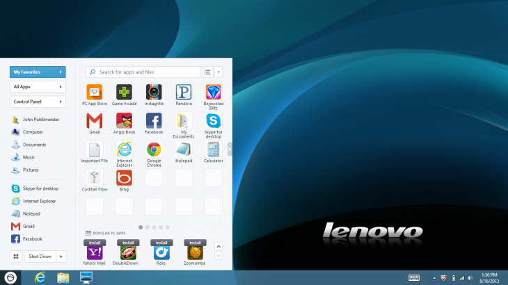 Pokki Start Menu Lenovo Win8 730x410 Lenovo will pre load alternative Windows app store Pokki on its IdeaPad and ThinkPad computers