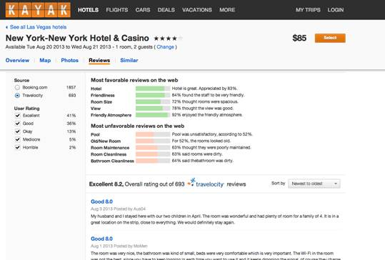 Reviews Screenshot 8 14 Kayak adds hotel reviews and sentiment analysis from verified travelers