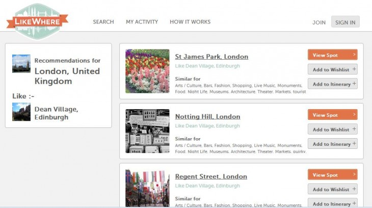 Screenshot 4 730x408 LikeWhere uses places you know well to suggest points of interest in new cities