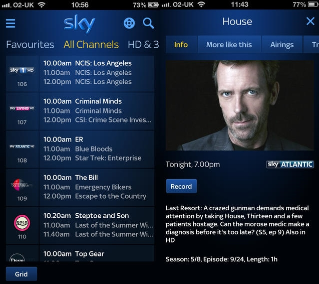 Sky plus Sky+ iOS app update now lets you search in more detail and post directly to social networks