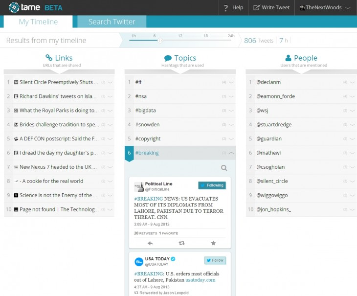 Tame 730x605 Tame your Twitter searches with Tames contextual real time results