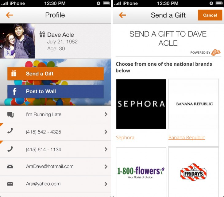 Tempo SendGift Profile 730x642 Smart calendar app Tempo adds contextual info to help you know more about the company youre meeting