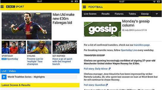 a BBC Sport releases a Kindle Fire app, and improves customization in the Android and iOS version
