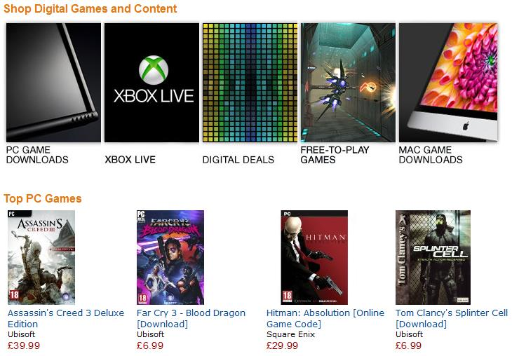 ama Amazon launches digital downloads for software and video games in the UK