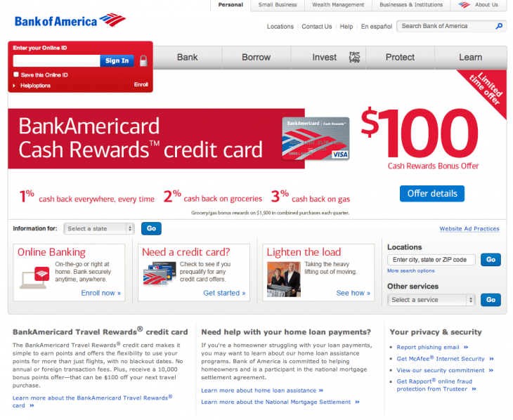 bank of america 730x598 How emotional design can give your website much more impact