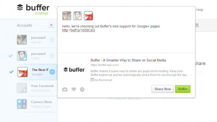 buffer31 730x412 Social sharing service Buffer now lets you post and schedule content to a Google+ Page