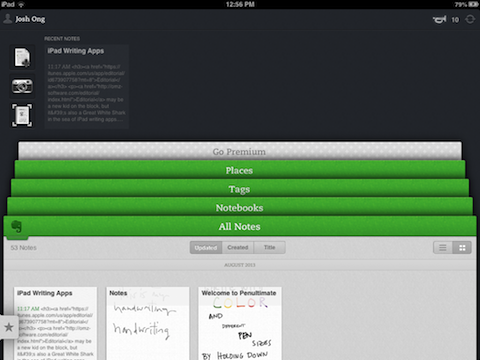 evernote iPad The 10 best writing apps on the iPad