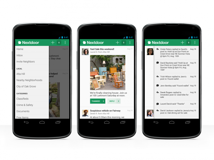 nextdoor android 3up white 730x547 Private neighborhood social network Nextdoor makes the leap from iOS to Android