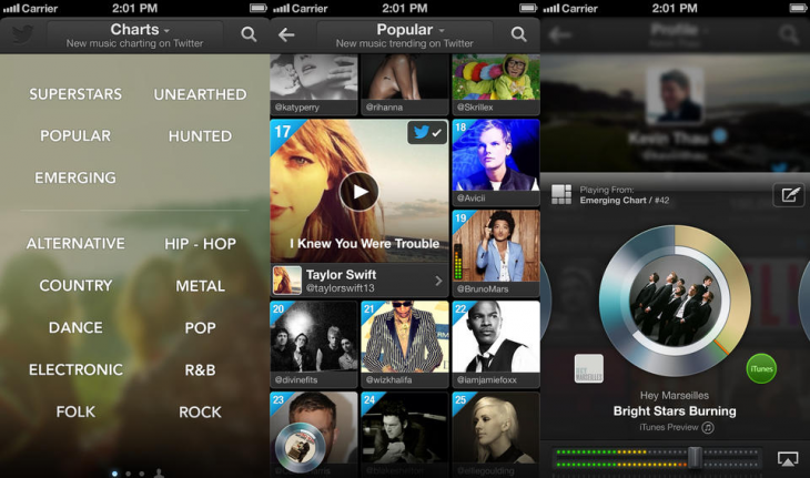 twitter music ios 730x431 Twitter #Music for iOS gets new ways to discover music, artist suggestions based on your devices library