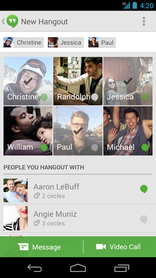 03 Google Hangouts for Android gets icons to show who is available, contact categories, and pinch to zoom photos