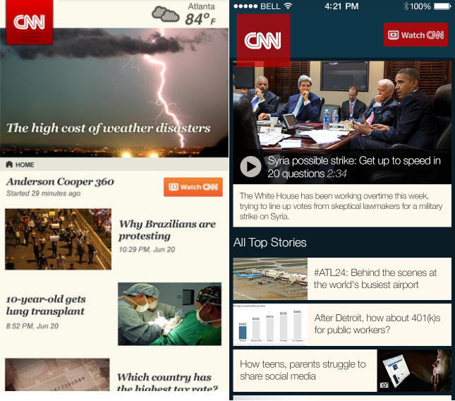 CNN Top Stories iOS7 Before and after: The best iOS 7 app redesigns