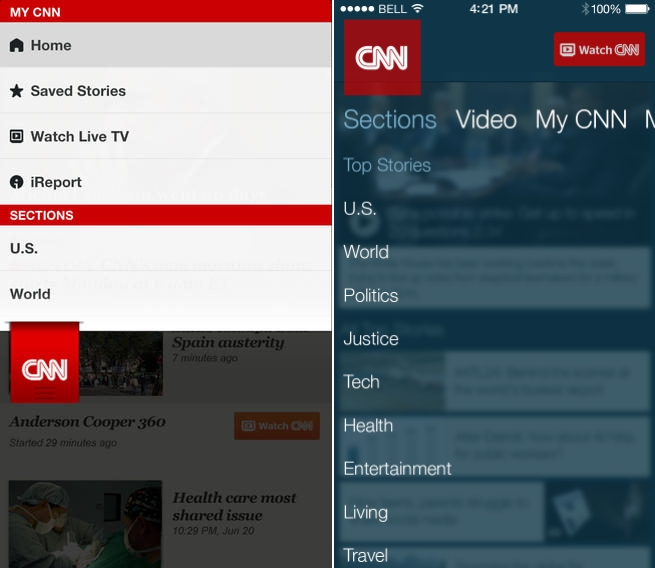 CNN iOS7 revamp Before and after: The best iOS 7 app redesigns