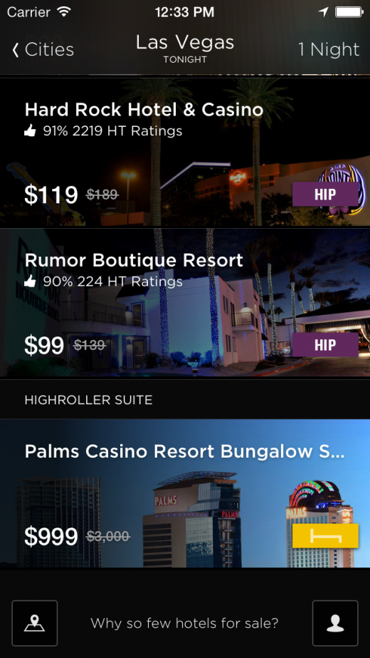 Las Vegas Palms 1 520x923 HotelTonight goes higher class with suites, villas, and penthouses, and rolls into Central Europe