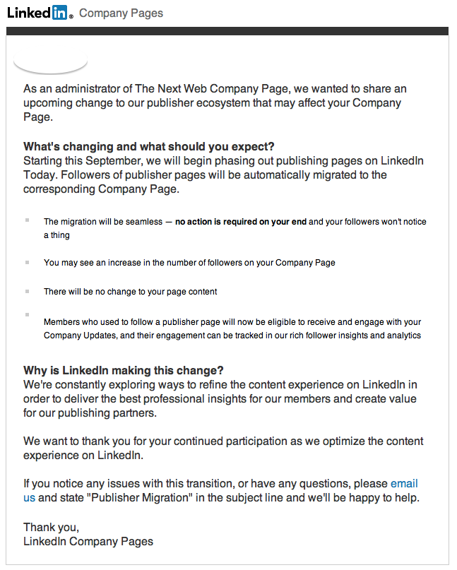 Screen Shot 2013 09 03 at 15.19.22 LinkedIn to close publisher pages on LinkedIn Today and migrate followers to company pages instead