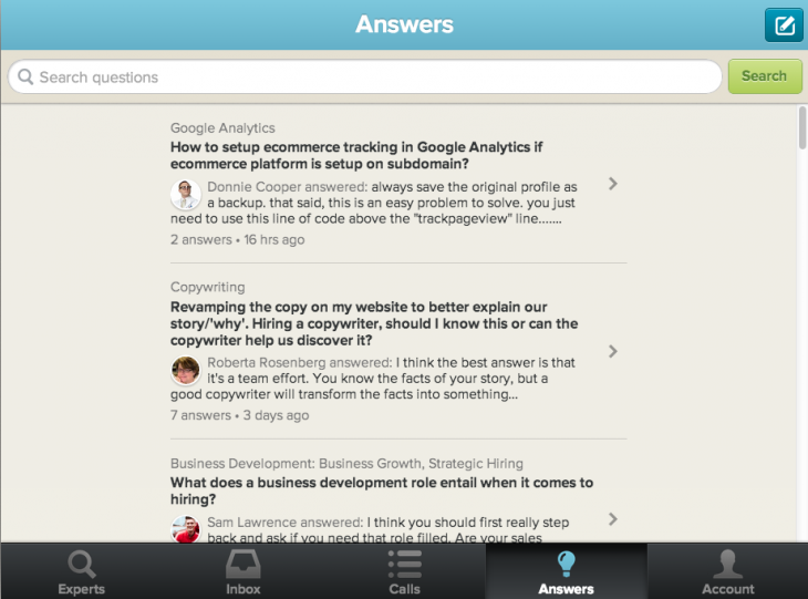 Screen Shot 2013 09 13 at 7.59.12 AM 730x541 Clarity unveils Quora like Answers service to help entrepreneurs get business advice fast