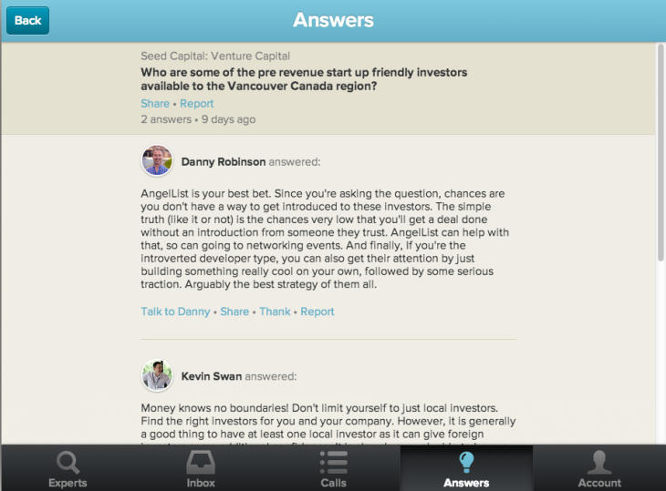 Screen Shot 2013 09 13 at 8.08.22 AM 730x539 Clarity unveils Quora like Answers service to help entrepreneurs get business advice fast