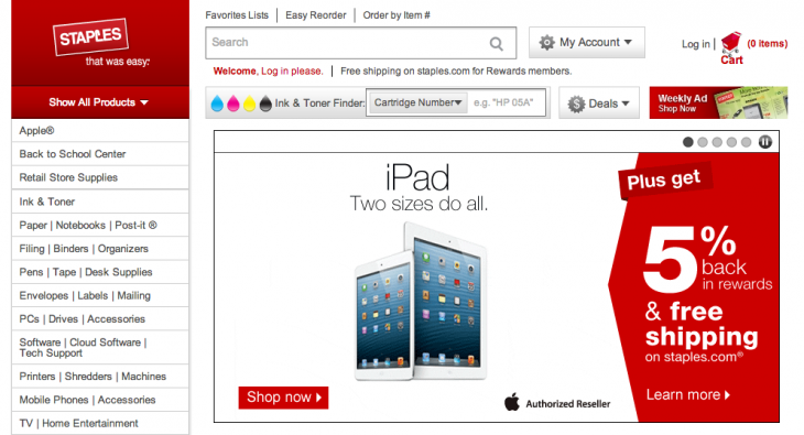 Screen shot 2013 09 29 at PM 10.54.37 730x395 Office supply retailer Staples starts selling the iPad in the US