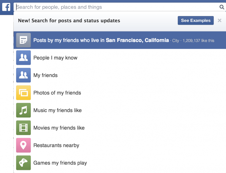 Search for posts and status updates[1]