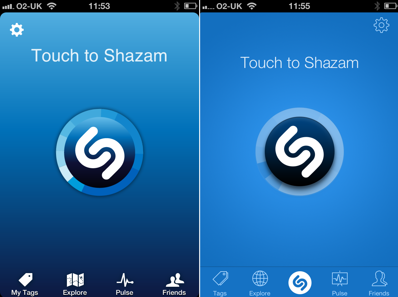 Shazam iOS67 Before and after: The best iOS 7 app redesigns