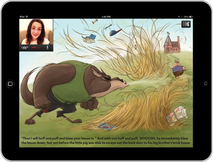 Three Little Pigs ustyme copy 730x557 Ustyme launches as a video calling iPad app for playing games and reading childrens books together