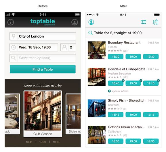 TopTable Before and after: The best iOS 7 app redesigns