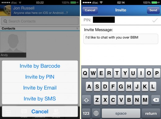 add person1 520x386 Hands on with BlackBerrys BBM app for iOS